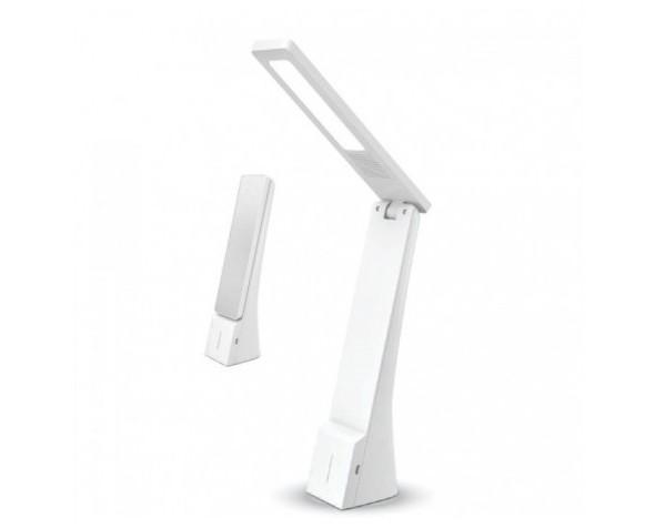 Lámpara LED de mesa 4W. Estilo minimalista y elegante, con detalle en acabado plata