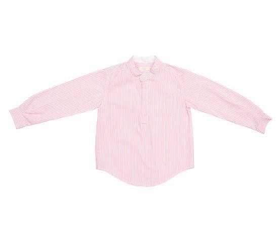 Camisas Infantiles. Camisa viento rayas. Confeccionada en tejido con rayas rosa y blanca. Cuello mao.