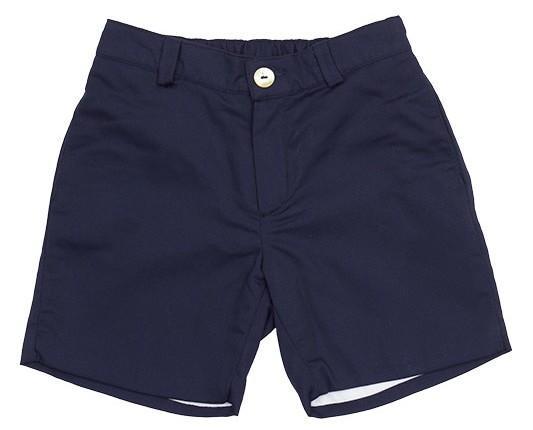 Pantalón Corto para Niños. Confeccionado en tejido de algodón azul marino. Forro blanco.Bolsillos traseros y delanteros