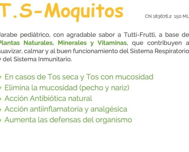 Jarabe T.S-Moquitos. Jarabe de 150 ml con sabor a Tutti-Frutti