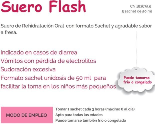 Suero Flash. Suero de Rehidratación Oral con formato Sachet. Contiene 5 sachets de 50 ml Apto para bebés Su formato es ideal para facilitar la toma del Suero en...