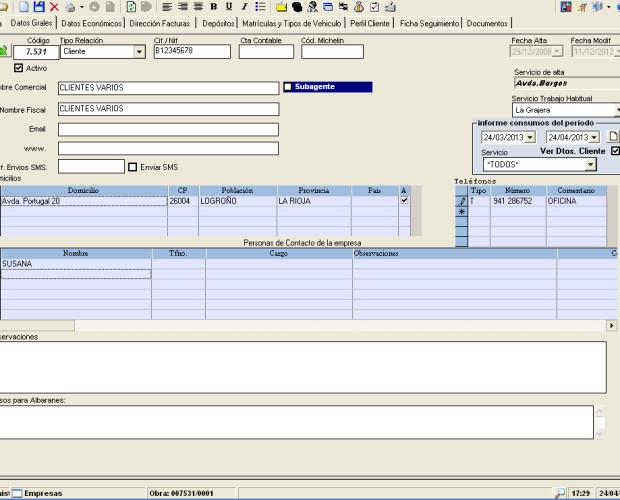Sistema Multi-Empresa. Gestiona varias empresas con multiples servicios o centros de trabajo