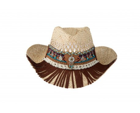 Sombrero cowboy calado paja. Color paja. Detalle boho chic color chocolate. Flecos largos