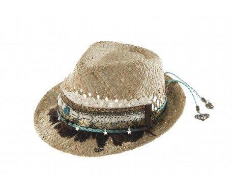 Sombrero boho. Sombrero estilo borsalino de paja calada.