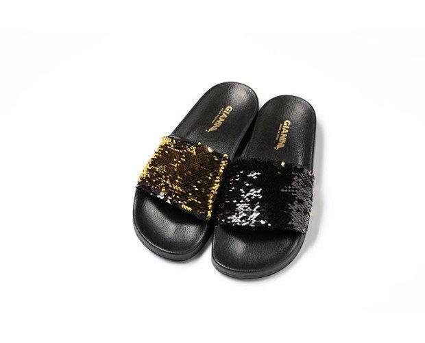 Sandalias de lentejuelas. Cambia el sentido y el color de tu modelo