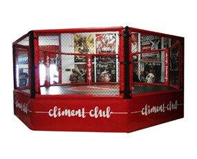 Equipamiento para Instalaciones Deportivas.Jaula MMA Personalizada con Logo en la Lona, Todas las Protecciones y Faldones,