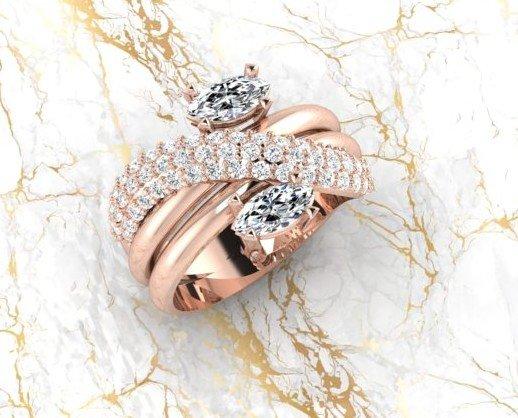 Anillo. Anillo con talla marquise y diamentes.Oro rosa. Diseño y Render María Eugenia Morales