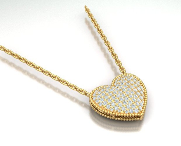 Colgante Corazón. Pavé de diamantes.