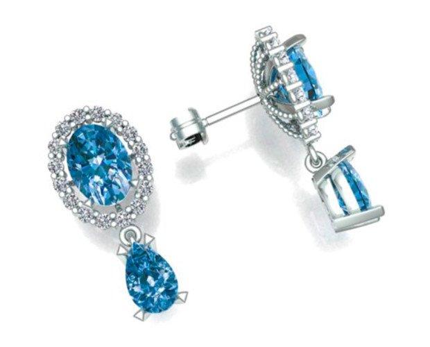 Pendientes de Diamantes Aquamar. Sus modelos se pueden crear a partir de una idea, boceto o imagen