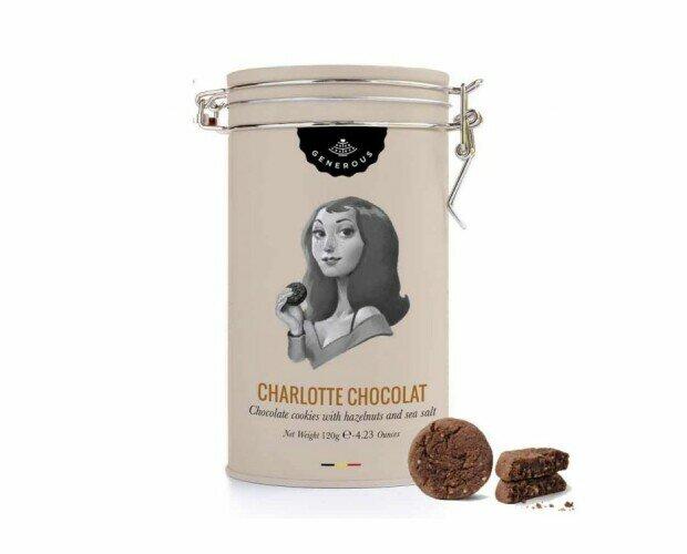 Lata Charlote Chocolate. Galleta con pepitas de chocolate y flor de sal