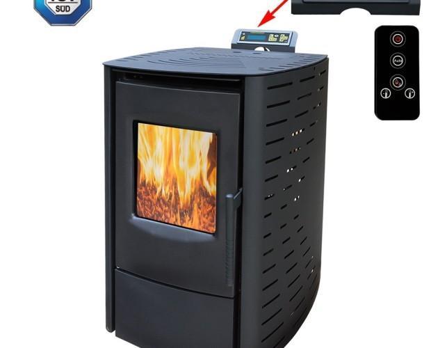 Calefacción.estufa de pellets con las normas de 6 kW