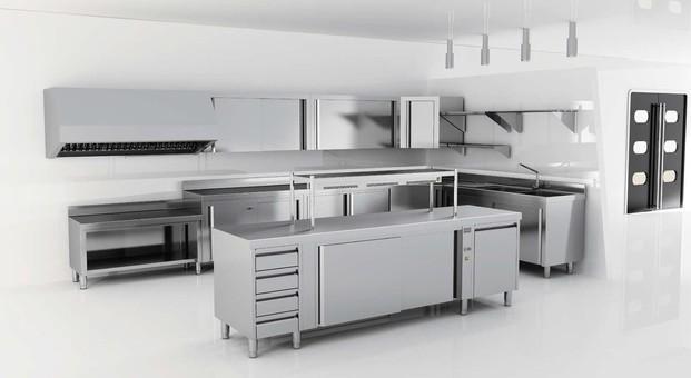 Mobiliario cocina. Mobiliario en acero inoxidable para equipamiento de cocina