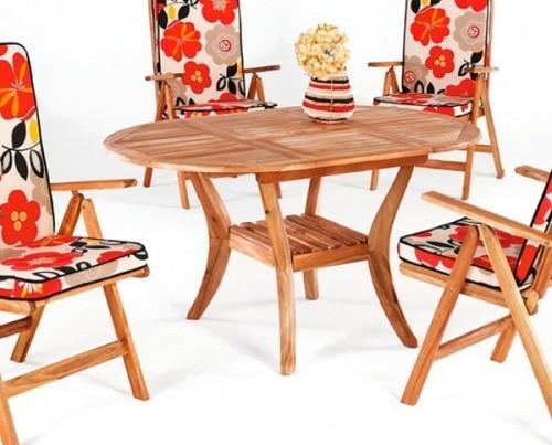 Muebles de Jardín. Mesa redonda extensible 100/150×100 en madera de Acacia.