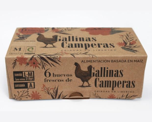 Gallinas Camperas. Pack de 6 huevos frescos de gallina camperas. Con certificación M PRODUCTO CERTIFICADO, de ALIMENTOS DE MADRID.  Alimentación basada en Maiz certificada.
