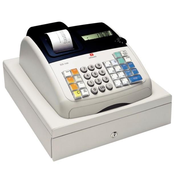 Caja registradora. Diseño moderno y compacto con impresora de recibos de rodillo de tinta negra y gran pantalla numérica LCD digital