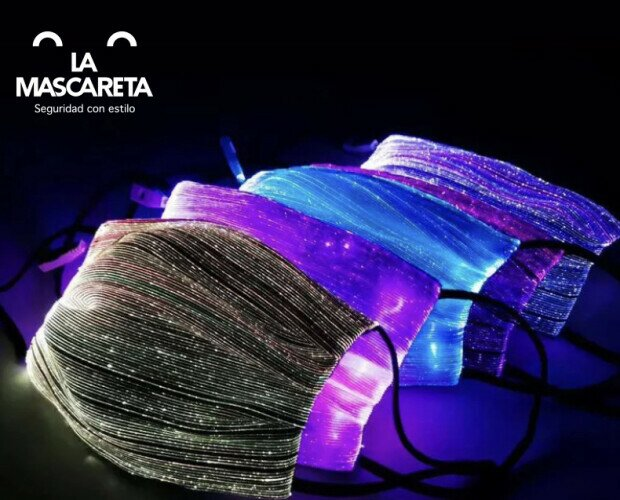 Mascarilla de fibra óptica. Mascarilla de fibra óptica con luces led, con filtro y usb para recarga