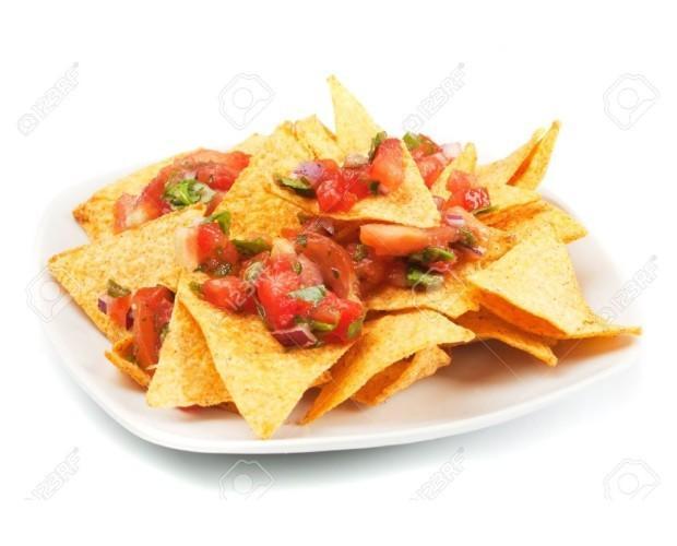 Nachos con Salsa. Nachos con salsa mexicana fresca