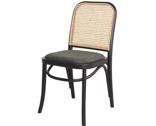 CLIPPER. Silla de madera y asiento textil.