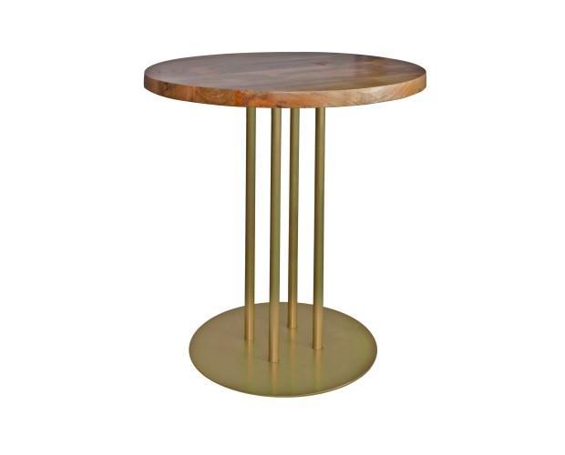 Ginfizz. Mesa estilo industrial con estructura de acero acabada en pintura oro y tapa de madera. Fabricación a medida, y acabados personalizados.