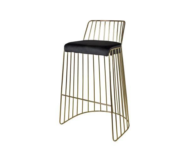Dallas. Taburete alto estilo Mid Century con estructura tubular de acero con acabado latonado y asiento tapizado en terciopelo. Medidas: 53x53x94 cm
