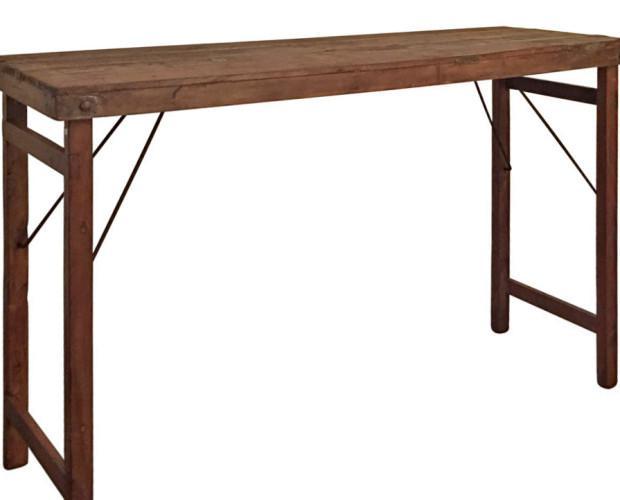 Bosco. Mesa alta estilo industrial vintage fabricada en madera reciclada. Patas plegables. Medidas: 173x58x108 cm