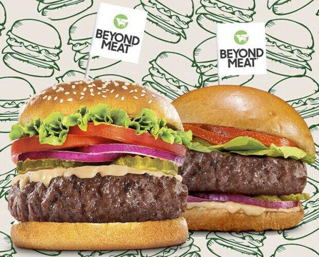 Beyond meat burger. Hamburguesas veganas Beyond Meat, sustitutivos de la carne para veganos.