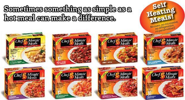 Chef 5 Minute Meals. Comida autocalentable, 8 platos distintos