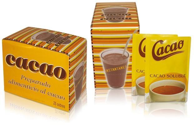 Cacao. Cacao en Polvo. Sobres de preparado alimentario al cacao
