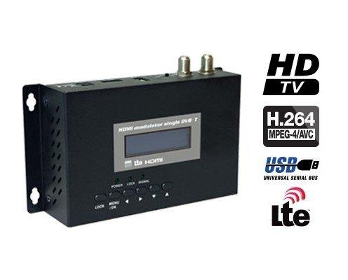 HDMI Modulador DVB-T. Armario metálico y estructura de PCB de 2 capas con orificios de radiación