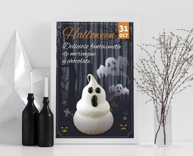 Cartel halloween. Proporcionamos apoyo gráfico a nuestros clientes para ayudarlos en la venta.