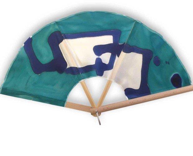 Abanico Silkfull N36. Azul, verde y blanco con dos alianzas cuadradas que afianzan el compromiso.