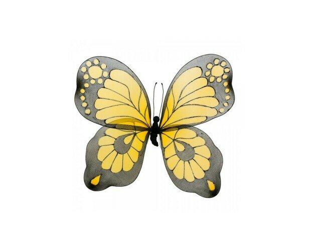 Mariposa amarilla. Mariposa pintada a mano en color amarillo y negro