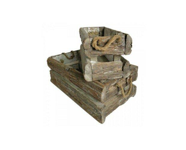 Caja de madera vintage. Caja de madera con asas de cuerda natura