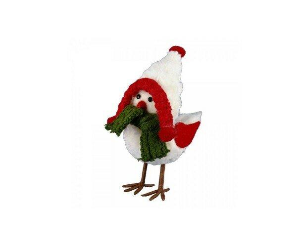 Figura de pájaro. Figura de pájaro con gorro y bufanda blanca