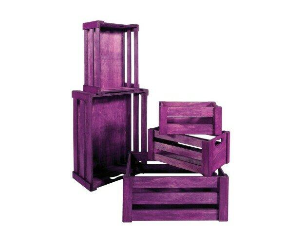 Cajas de madera encajables. Cajas de madera encajables de color púrpura