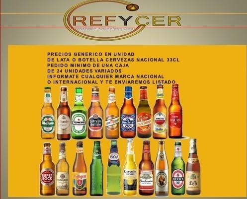 Botellas de Cerveza con Alcohol.Variedad de marcas