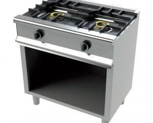 Cocinas industriales. Cocina de gas 2 fogones fondo 550 mm de pie