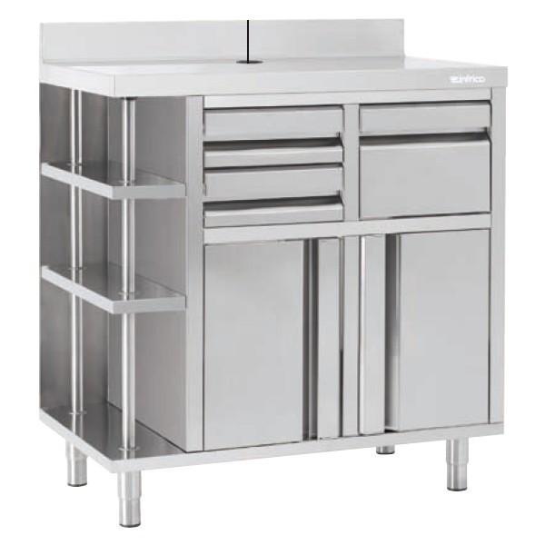 Mueble cafetero. Mobiliario de acero inoxidable