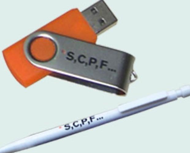 SCPF. Memoria y boli serigrafiados para la empresa SCPF