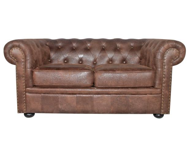 Mobiliario para el Hogar. Mobiliario de Salón. Sofá estilo Chester fabricada en microgamuza con efecto piel envejecida