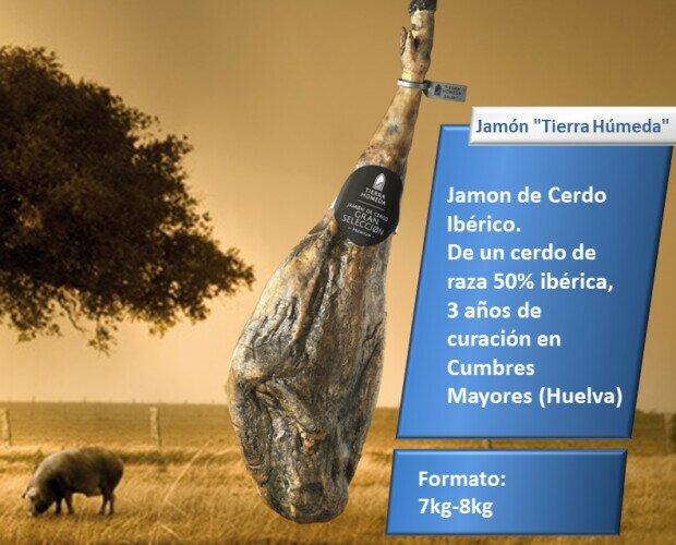 Jamón Tierra Húmeda. Jamón de Cerdo Ibérico. De un cerdo de raza 50% ibérica,3 años de curación en Huelva
