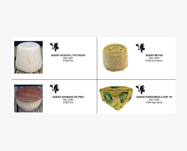 Quesos Gourmet. Quesos: Afuega'l Pitu, Beyos, Ahumado de Pria, Gorgonzola DOP