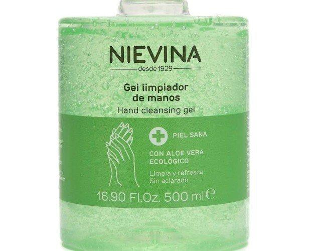 Gel limpiador des. Gel desinfectante limpiador sin jabon marca NIEVINA ecológica y áloe vera.