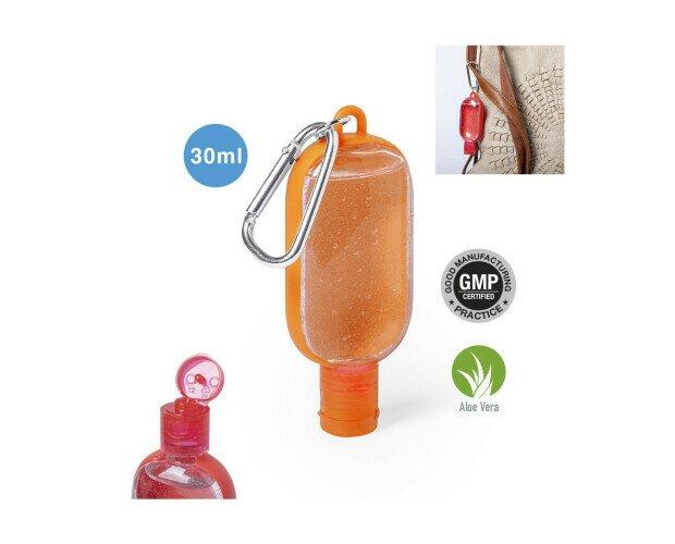 Gel Hidroalcohólico Trikel. Cuerpo en variada gama de colores, con dosificador, tapón de seguridad y mosquetón pa