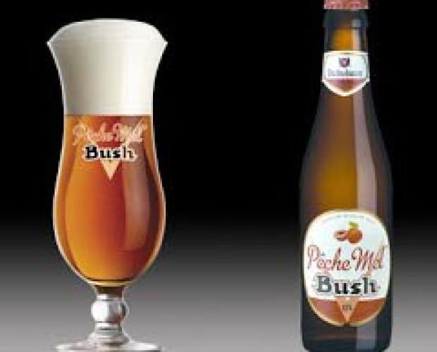 Bush Pêche Mel. Cerveza especial belga, ambarina, 8,5 % de alcohol