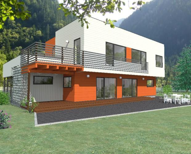 Casas de Madera.Casa de madera de estilo moderno modelo Liencres