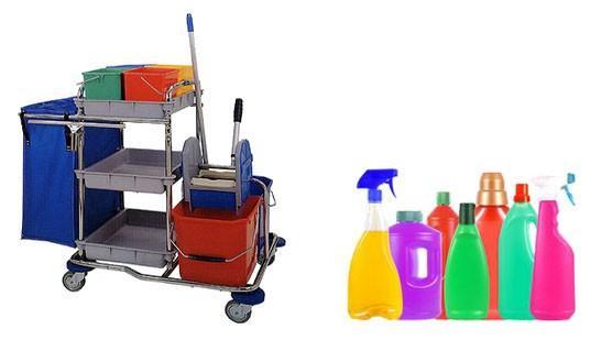 Productos y útiles de limpieza. Desinfectantes, detergentes, carros