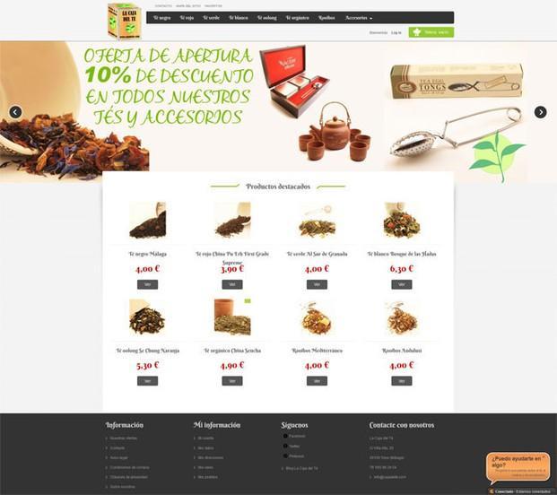 Soluciones de Comercio Electrónico.Comercio electronico para vender té.