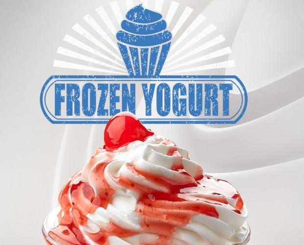Frozen yogur natural. Yogurt helado, sin gluten, para añadir toppings
