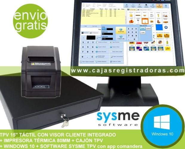 Pack TPV + Software. Pack TPV Software Sysme TPV y W10 + Cajon e impres